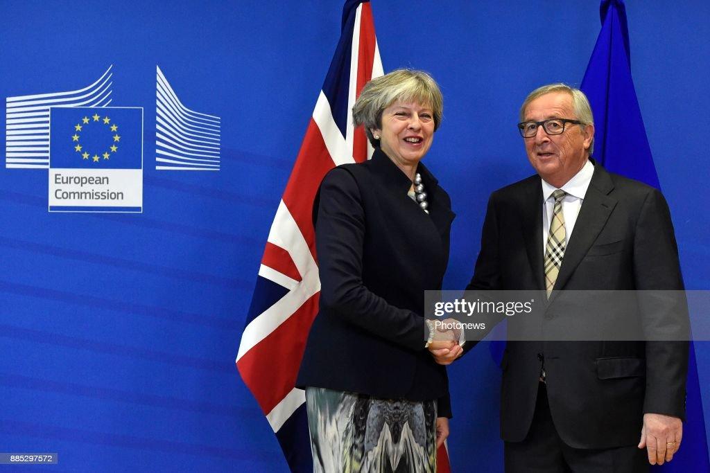 Jean-Claude Juncker meets Theresa May on December 4, 2017 in Brussels, Belgium.