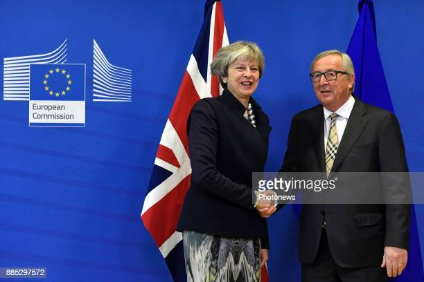 JeanClaude Juncker meets Theresa May on December 4 2017 in Brussels Belgium