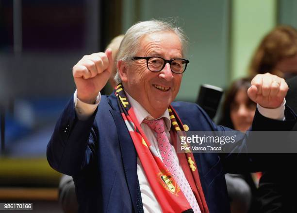 Jean-Claude Juncker, President of European Commission gestures during the EU Council Meeting at European Parliament on June 28, 2018 in Brussels,...