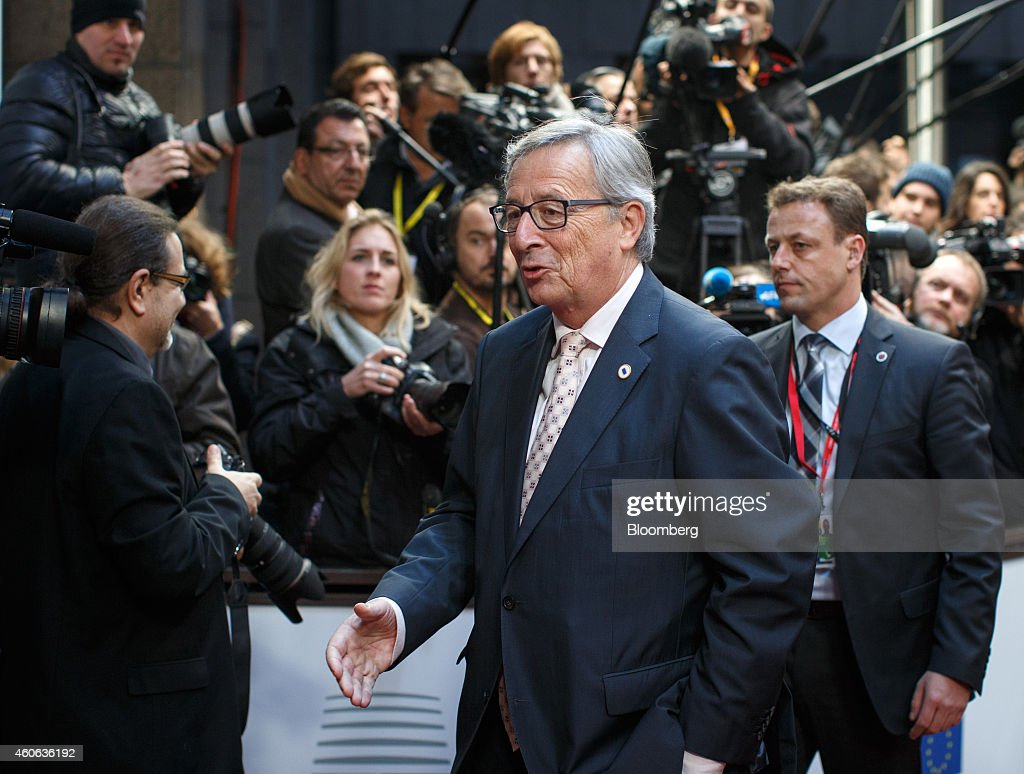 Jean-Claude Juncker, president of the European Commission, arrives for a European Union (EU) summit meeting in Brussels, Belgium, on Thursday, Dec. 18, 2014. The EU outlawed the sale of some energy-exploration equipment to Crimea, seeking to prevent Russia from using the newly annexed Ukrainian peninsula to exploit Black Sea oil and gas deposits. Photographer: Jasper Juinen/Bloomberg via Getty Images