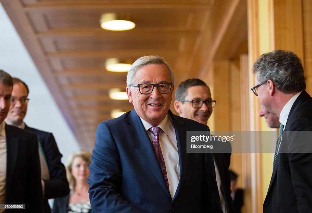Germany's Chancellor Angela Merkel And President Of European Commission Jean-Claude Juncker Attend Europe in Crisis Mode Panel Discussion : News Photo