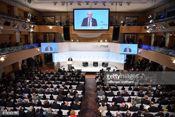 Jean-Claude Juncker, President of the European Commission delivers a speech at the 2018 Munich Security Conference on February 17, 2018 in Munich,...