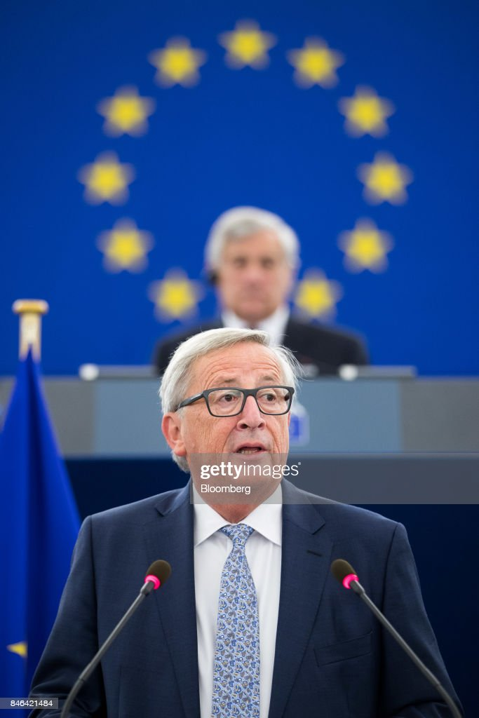 Jean-Claude Juncker, president of the European Commission, delivers the State of the Union speech at the European Parliament in Strasbourg, France, on Wednesday, Sept. 13, 2017. In a sign of the EUs renewed confidence, Juncker will push for free-trade pacts withAustralia and New Zealandat a time when the U.S. is turning inward, along with a bloc-wide system for screening foreign takeovers and deeper euro-area banking integration. Photographer: Jasper Juinen/Bloomberg via Getty Images