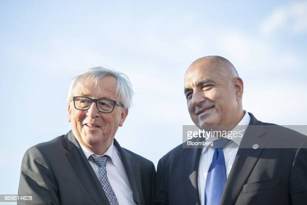 JeanClaude Juncker president of the European Commission left is greeted by Boyko Borissov Bulgaria's prime minister as he arrives for an informal...