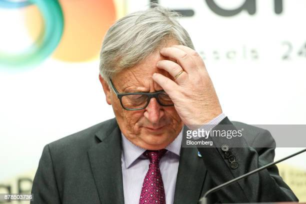JeanClaude Juncker president of the European Commission pauses while speaking during a news conference following the Eastern Partnership Summit at...
