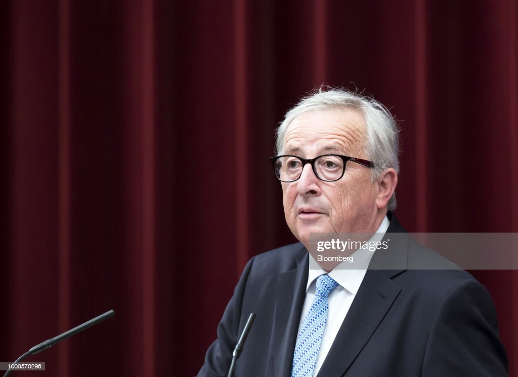 Jean-Claude Juncker, president of the European Commission, speaks during a joint news conference with Shinzo Abe, Japan's prime minister, and Donald Tusk, president of the European Union (EU), following a summit at the prime minister's official residence in Tokyo, Japan, on Tuesday, July 17, 2018. Japan and the EU signed a trade agreement on Tuesday in Tokyo that lowers barriers on the movement of goods and services between the two economies and provides a counterweight to U.S. protectionism. Photographer: Tomohiro Ohsumi/Bloomberg via Getty Images