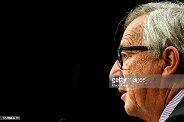 JeanClaude Juncker president of the European Commission speaks during a news conference following the Eastern Partnership Summit at the Europa...