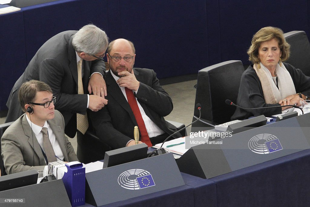 Jean-Claude Juncker, President of the European Commission, (2nd L) speaks with Martin Schultz, President of the European Parliament in the Plenary room of the European Parliament on July 7, 2015 in Strasbourg, France. 'Difficult Times Ahead for Greece' said the President of the EU Parliament in a Press conference after the consequences of the Greek referendum result who rejected the Europeans Bailout with great majority,