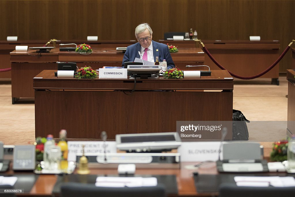 Jean-Claude Juncker, president of the European Commission, waits for the start of a meeting of European Union (EU) leaders in Brussels, Belgium, on Thursday, Dec. 15, 2016. A first glimpse of the European Union's potential for disunity on Brexit emerged at the Brussels summit, as EU leaders were caught up in a dispute over how the bloc negotiates with the U.K. as it heads for the door. Photographer: Jasper Juinen/Bloomberg via Getty Images