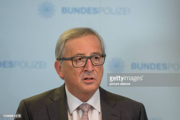 JeanClaude Juncker president of the European Union Commission speaks during a press conference following a visit to a registration facility for...
