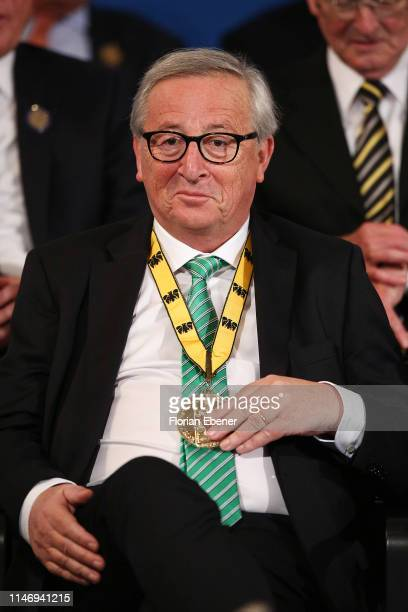 Jean-Claude Juncker with his International Charlemagne Prize of Aachen at the International Charlemagne Prize of Aachen 2019 , awarded to Secretary...