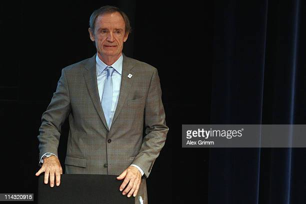 JeanClaude Killy French IOC member and member of the Annecy 2018 delegation arrives for the briefing for IOC members at the Olympic Museum on May 18...