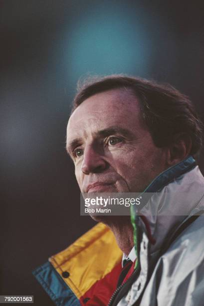 JeanClaude Killy of France and triple Olympic champion winning the three alpine events at the1968 Winter Olympics in Grenoble looks on during the...