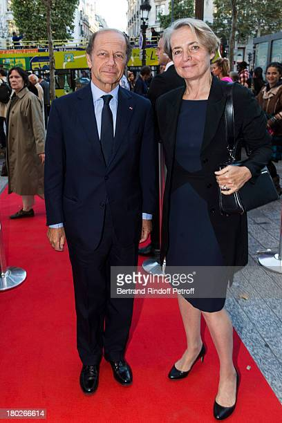 JeanClaude Meyer and AnneClaire Taittinger arrive for the premiere of the movie 'Quai d'Orsay' organized by the Claude Pompidou foundation prior to...