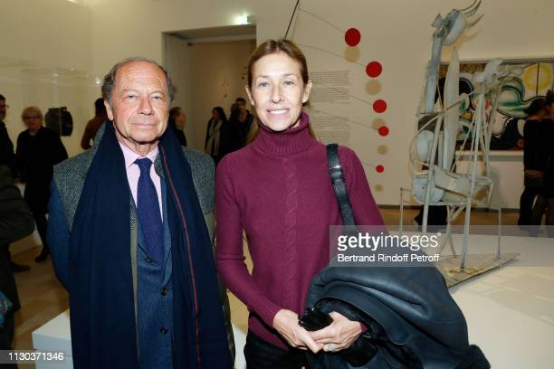 JeanClaude Meyer and his wife Nathalie BlochLaine attend CalderPicasso Exhibition Preview at Musee national PicassoParis on February 17 2019 in Paris...
