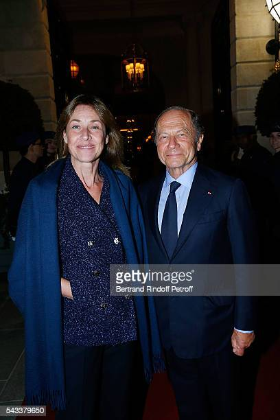 JeanClaude Meyer and his wife Nathalie BlochLaine attend the Colonne Vendome Is Unveiled After Restoration Works on June 27 2016 in Paris France