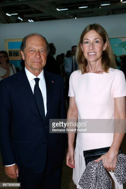 JeanClaude Meyer and his wife Nathalie BlochLaine attend the David Hockney Retrospective Exhibition at Centre Pompidou on June 19 2017 in Paris France