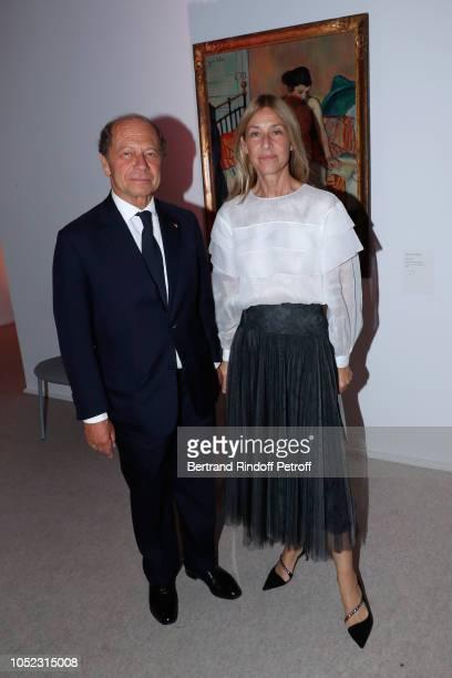 JeanClaude Meyer and his wife Nathalie BlochLaine attend the Societe des Amis du Musee d'Art Moderne Dinner Held at Musee d'Art Moderne de la Ville...