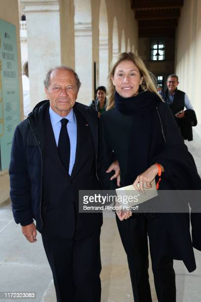 JeanClaude Meyer and his wife Nathalie BlochLaine attend the Tosca Opera en Plein Air performance at Les Invalides on September 04 2019 in Paris...