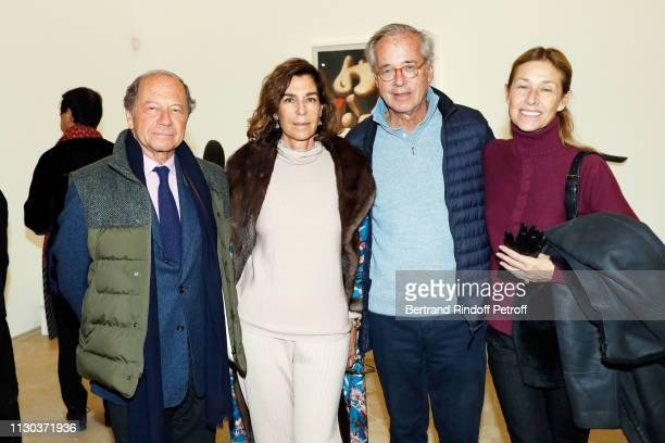 JeanClaude Meyer Christine Orban Olivier Orban and Nathalie BlochLaine attend CalderPicasso Exhibition Preview at Musee national PicassoParis on...