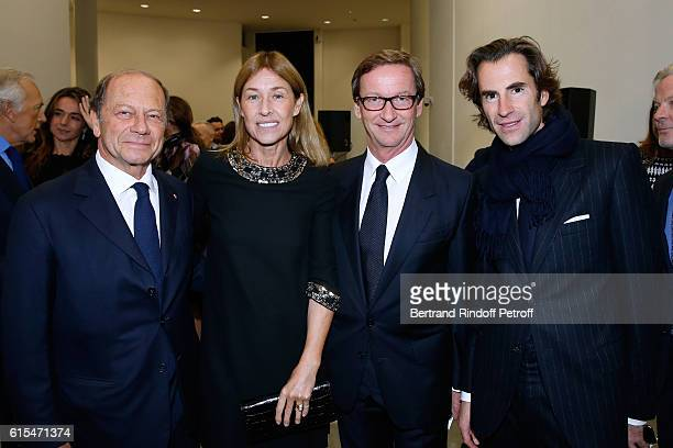 JeanClaude Meyer his wife Nathalie BlochLaine Thaddaeus Ropac and Pierre Pellegry attend the Societe des Amis du Musee d'Art Moderne Dinner Party at...