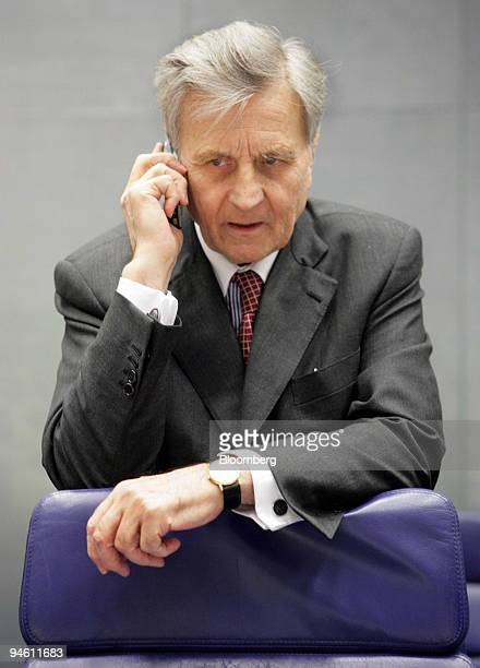 Jean-Claude Trichet, president of the European Central Bank, speaks on his phone prior to the meeting of the Eurogroup in Luxembourg on Tuesday, June...
