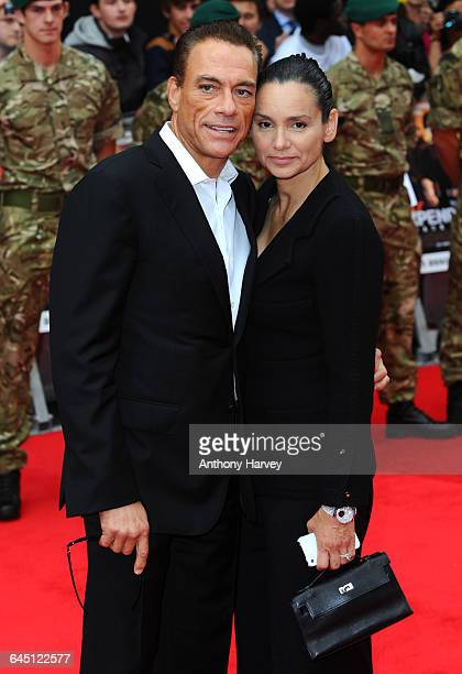 Jean-Claude Van Damme and Gladys Portugues attend The Expendables 2 Premiere on August 13, 2012 at the Empire Cinema, Leicester Square in London.