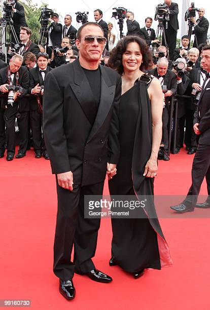 JeanClaude Van Damme and Gladys Portugues attend the Opening Night Premiere of 'Robin Hood' at the Palais des Festivals during the 63rd Annual...