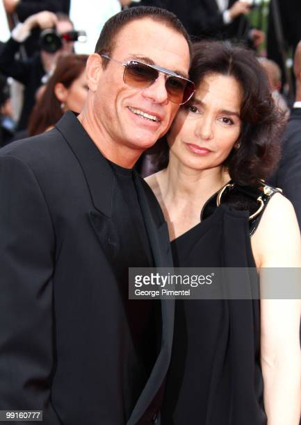 Jean-Claude Van Damme and Gladys Portugues attend the Opening Night Premiere of 'Robin Hood' at the Palais des Festivals during the 63rd Annual...