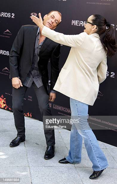 Jean-Claude Van Damme and his wife Gladys Portugues attend 'The Expendables 2' photocall at Ritz hotel on August 8, 2012 in Madrid, Spain.