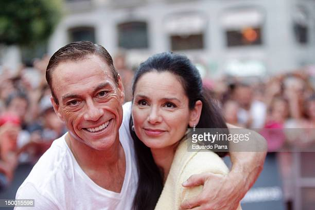 Jean-Claude Van Damme and his wife Gladys Portugues attend 'The Expendables 2' at Callao cinema on August 8, 2012 in Madrid, Spain.