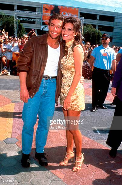"""Jean-Claude Van Damme and wife Darcy La Piere at """"The Quest"""" premiere in Los Angeles, CA, April 20, 1996."""
