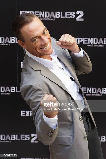Jean-Claude Van Damme attends 'The Expendables 2' Photocall at Hotel George V on August 10, 2012 in Paris, France.