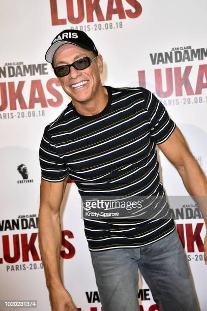 "Jean-Claude Van Damme attends the ""Lukas"" Paris Premiere at Cinema Gaumont Capucines on August 20, 2018 in Paris, France."