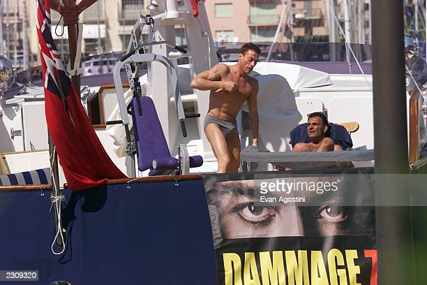 JeanClaude Van Damme exercising on his yacht during the 54th Cannes Film Festival in Cannes France Van Damme is in Cannes to promote his new film...