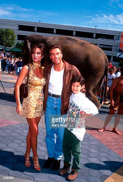 JeanClaude Van Damme with wife Darcy La Piere and son at The Quest premiere in Los Angeles CA April 20 1996