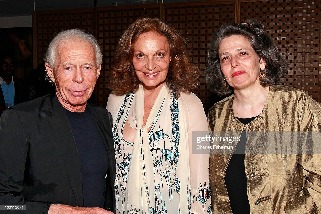 Jean-Claude Van Hallie, designer Diane von Furstenberg and Francine Goldenhar attend the reception after the screening of 'The Making of 'Last Year at Marienbad' hosted by Diane von Furstenberg and Bernard-Henri Levi to benefit La Maison Francaise at New York University at Diane Von Furstenberg Gallery on May 20, 2010 in New York City.