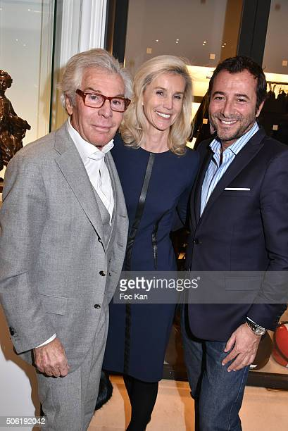 JeanDaniel Lorieux Laura Restelli Brizard and Bernard Montiel attend the Mireille Darc Photo Exhibition Preview at Artcurial on January 21 2016 in...
