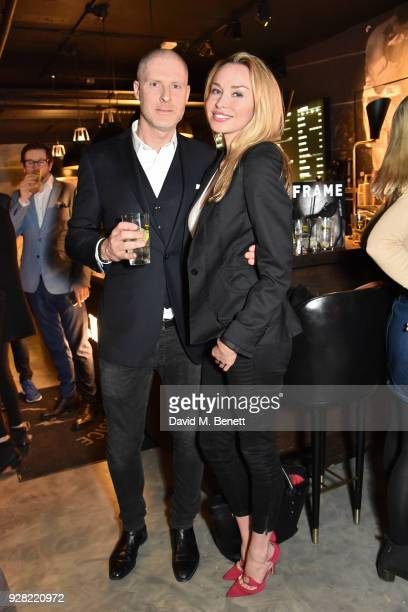 JeanDavid Malat and Noelle Reno attend the opening of 'FRAME' an exhibition of photographs by Alan Chapman at BXR London on March 6 2018 in London...