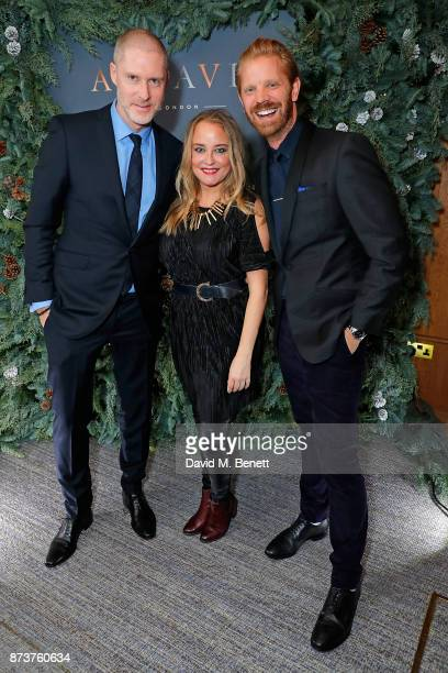 JeanDavid Malat Erica Bergsmeds and Alistair Guy attend the launch of The Nordic Winter Garden at Aquavit by McQueens on November 13 2017 in London...