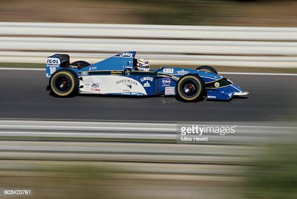 JeanDenis Deletraz of Switzerland drives the Pacific Grand Prix Ltd Pacific PR02 Ford V8 during practice for the Portuguese Grand Prix on 23...