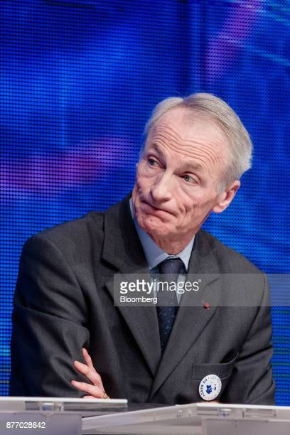 JeanDominique Senard chief executive officer of Michelin Cie looks on during the Rendezvous de Bercy economic debate at the French Ministry of...