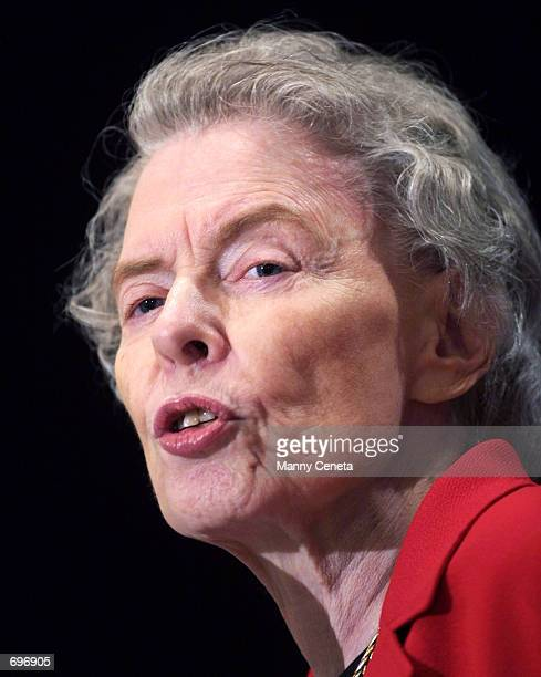 Jeane Kirkpatrick former US Permanent Representative to the UN during the administration of former US President Ronald Reagan delivers a speech...