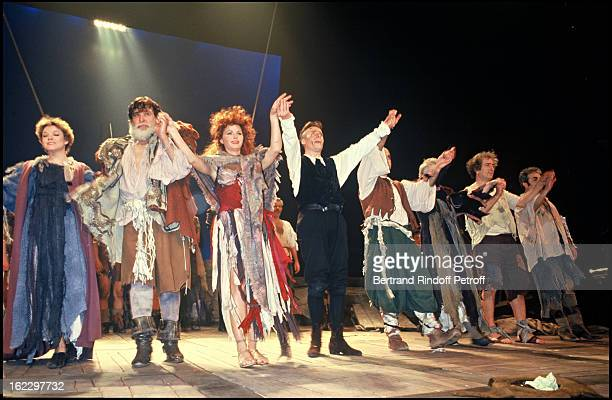 Jeane Manson and Jean Piat on stage for L'Homme de La Mancha opening Night Theatre Marigny 1988