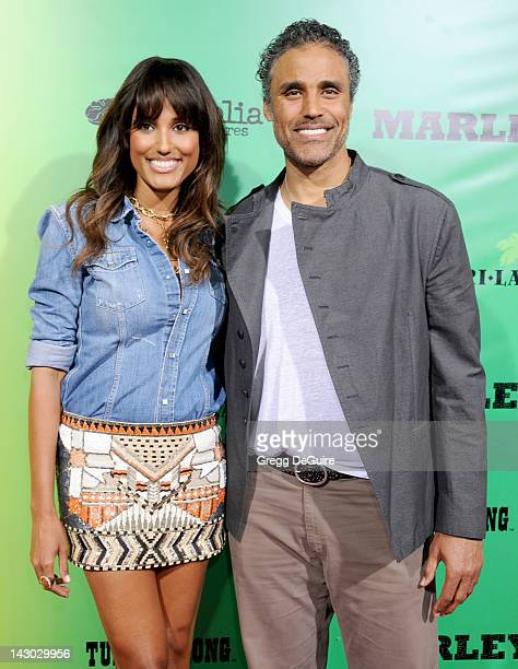 Jeanene Fox and Rick Fox arrives at the Los Angeles premiere of Marley at ArcLight Cinemas Cinerama Dome on April 17 2012 in Hollywood California