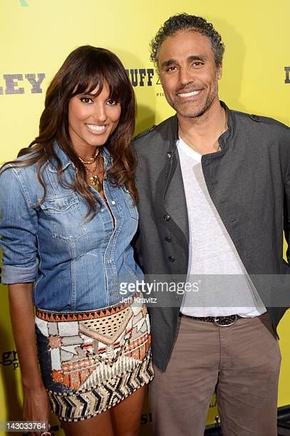 Jeanene Fox and Rick Fox attends the Los Angeles premiere of Marley at ArcLight Cinemas Cinerama Dome on April 17 2012 in Hollywood California