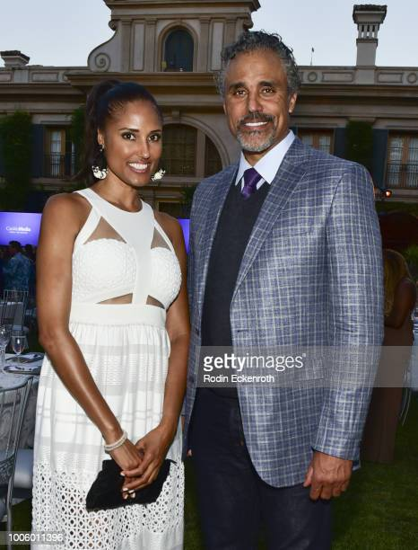 Jeanene Fox and Rick Fox pose for portrait at the 2018 Hallmark Channel Summer TCA at a private residence on July 26 2018 in Beverly Hills California