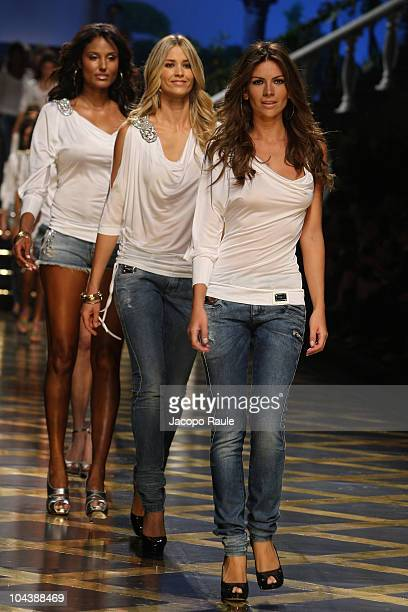 Jeanene Fox Elena Santarelli and Alessia Ventura walk down the runway during the Premoli Milan Fashion Week Womenswear Spring/Summer 2011 show on...