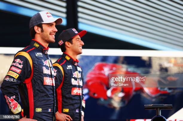 JeanEric Vergne of France and Scuderia Toro Rosso and Daniel Ricciardo of Australia and Scuderia Toro Rosso pose during the Toro Rosso F1 STR8 Launch...
