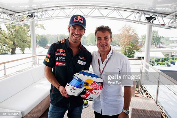JeanEric Vergne of France and Scuderia Toro Rosso and former F1 driver Jean Alesi are pictured in the Red Bull Energy Station before the Italian...
